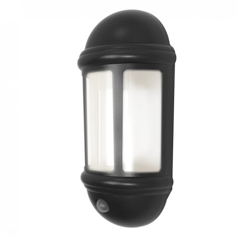 Ansell Latina LED Half Lantern with PIR 8W Black