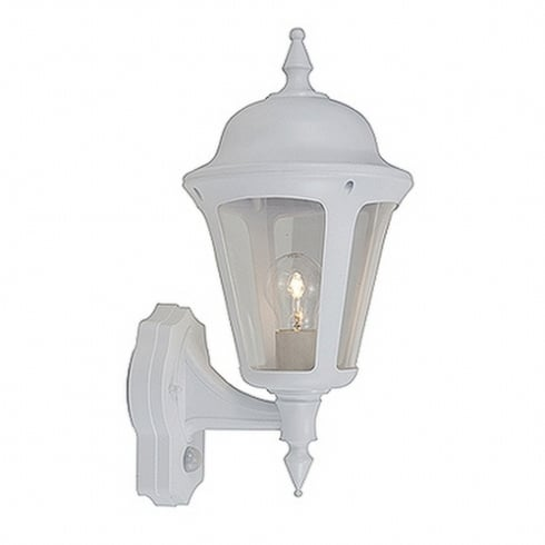 Ansell Latina Polycarbonate Wall Lantern Bottom/Top Arm White with PIR