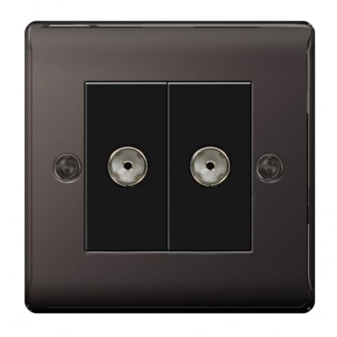 BG Electrical Nexus Coaxial Socket 2G Black Nickel