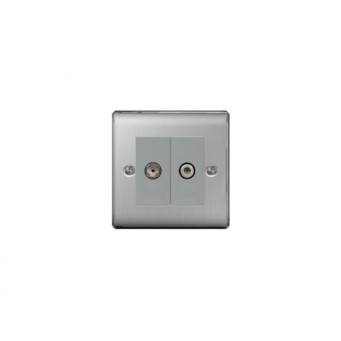 BG Electrical Nexus Coaxial Socket & Satellite Brushed Steel Grey