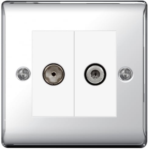 BG Electrical Nexus Coaxial Socket + Sat Polish Chrome
