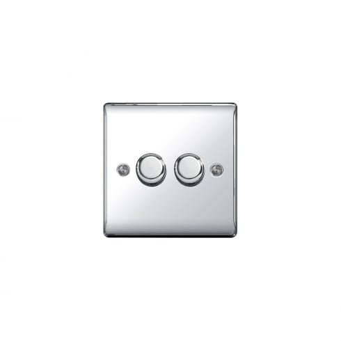 BG Electrical Nexus 2 Gang Dimmer 400W 2 Way Polished Chrome