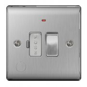 Nexus Spur Switch With Power Indicator & Flex Outlet Brushed Steel