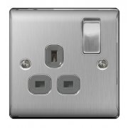 Nexus 13A Switch Socket 1 Gang Brushed Steel