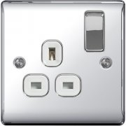 Nexus 13A Switch Socket 1 Gang Polished Chrome