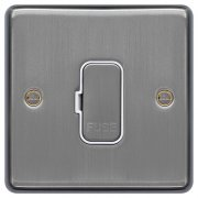 Spur Unswitched Brushed Steel White