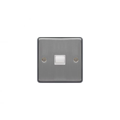 Hager Telephone Socket Secondary 1G Brushed Steel White