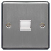 Telephone Socket Secondary 1G Brushed Steel White