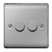 Nexus 2 Gang Dimmer 400W 2 Way Brushed Steel
