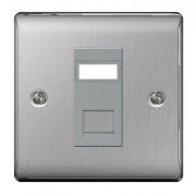 Nexus Socket RJ11 1G Brushed Steel Grey