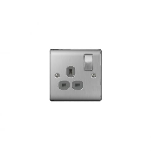 BG Electrical Nexus Switch Socket 13A 1G Brushed Steel Grey